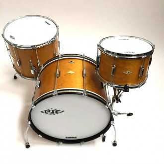 Drums Rive Gauche Elvin Jaune  kit top overview with bass drum, floor tom and tom