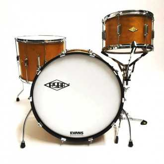 Drums Rive Gauche Elvin Jaune  kit front overview with bass drum, floor tom and tom