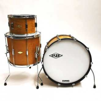 Drums Rive Gauche Elvin Jaune  kit front view with bass drum, floor tom and tom