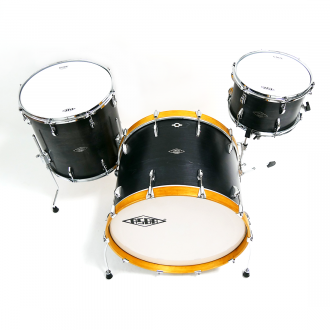 Drum kit Super Simone yellow hoop bass drum, with floor tom and tom
