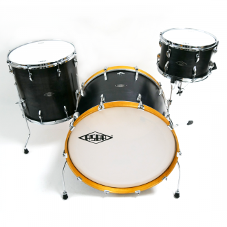 Drum kit Super Simone yellow hoop bass drum, with floor tom and tom 2