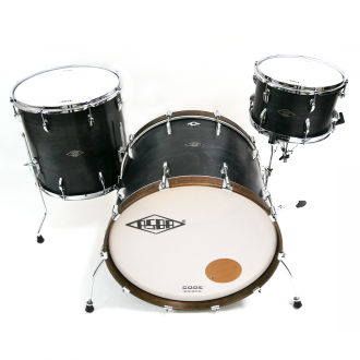 Drum kit Super Simone dark brown hoop bass drum, with floor tom and tom 2