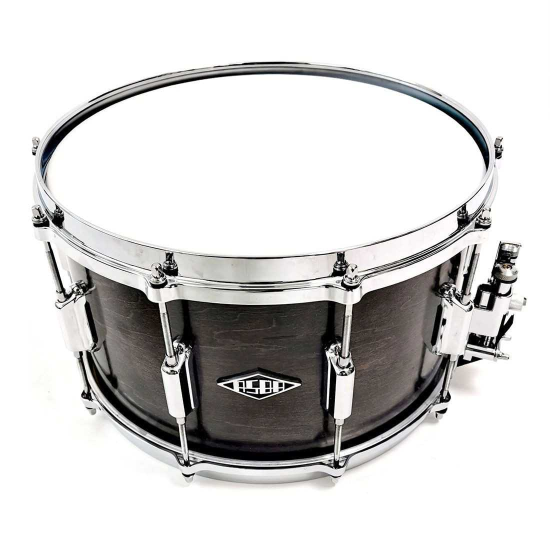 Snare rive gauche finish dark brown front view + strainer